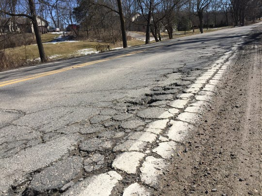 Chilson Road in Hamburg Township, shown Tuesday, March 12, 2019, is one of several roads in Livingston County township officials want fixed this year.