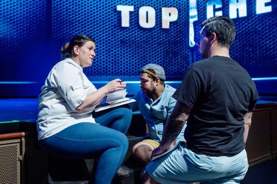 Finalist Sara Bradley (left) plans her menu with former contestants David Viana and Eddie Konrad on episode 15 of 'Top Chef' Kentucky.