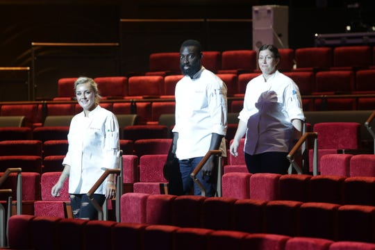(Left to right) 'Top Chef' finalists Kelsey Barnard Clark, Eric Adjepong and Sara Bradley on episode 15 of season 16.