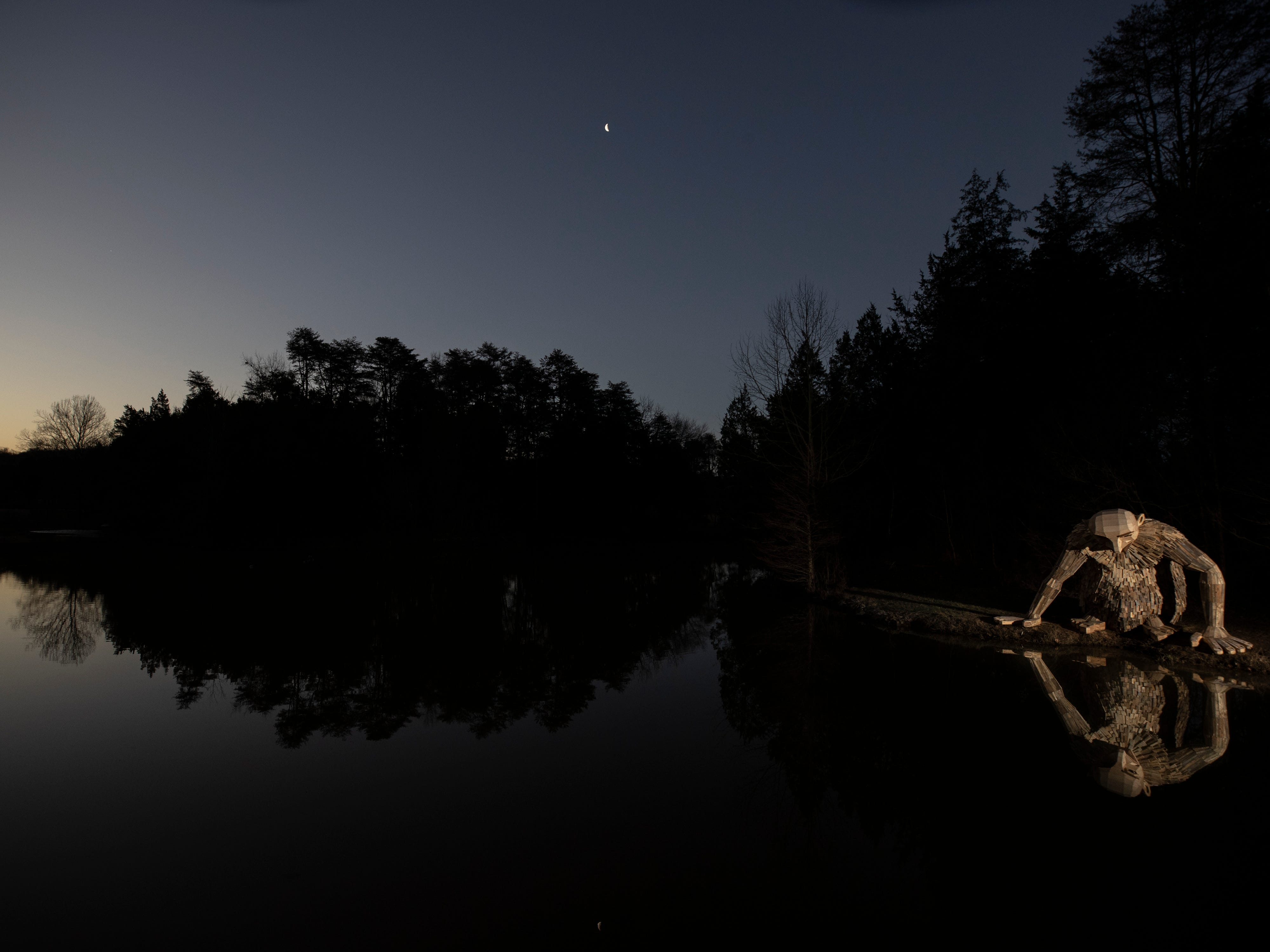 """""""Little Nis"""" gazes into the waters of Holly Pond at Bernheim Forest. His is one of three giant trolls created by sculptor Thomas Dambo. Feb. 27, 2019."""