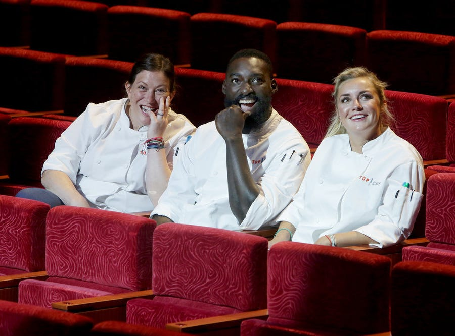 (Left to right) 'Top Chef' finalists Sara Bradley, Eric Adjepong and Kelsey Barnard Clark compete in episode 15 of season 16.