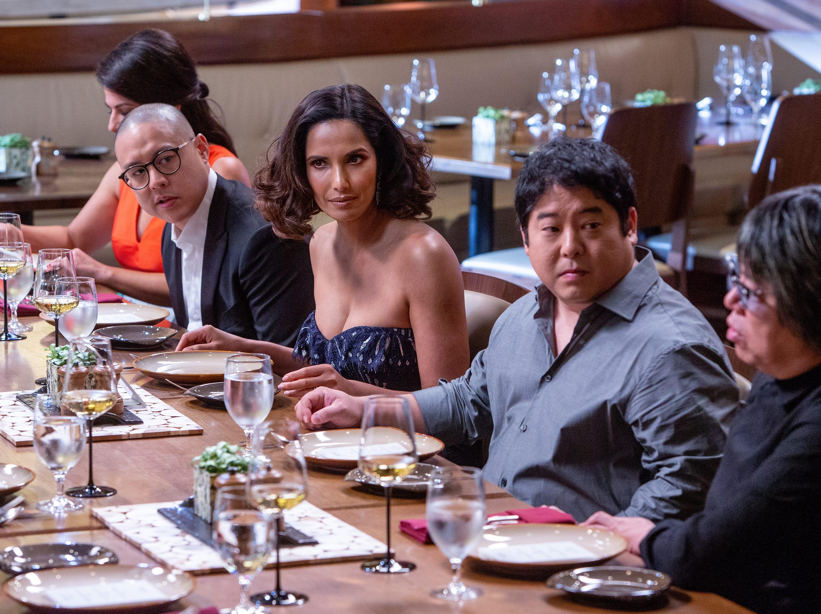 (Left to right) Dan Hong, Padma Lakshmi, Mitsuharu Tsumura and Alvin Leung dine in episode 15 of 'Top Chef' Kentucky.