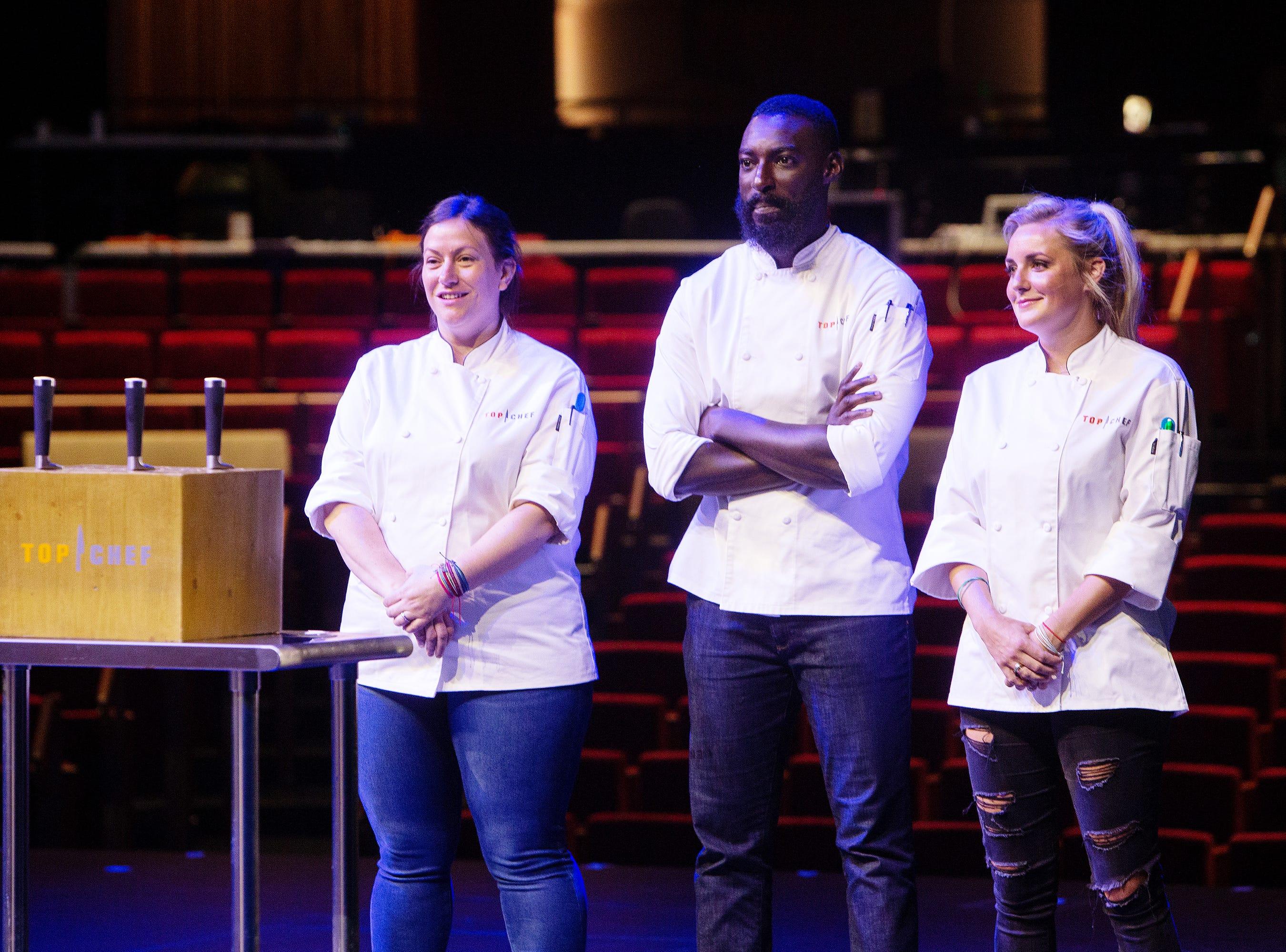 'Top Chef' contestants Sara Bradley, Eric Adjepong and Kelsey Barnard Clark wait for challenge instructions on episode 15 of season 16.