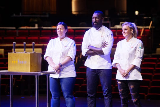 'Top Chef' contestants Sara Bradley, Eric Adjepong and Kelsey Barnard Clark wait for challenge instructions on episode 15 of season 16.