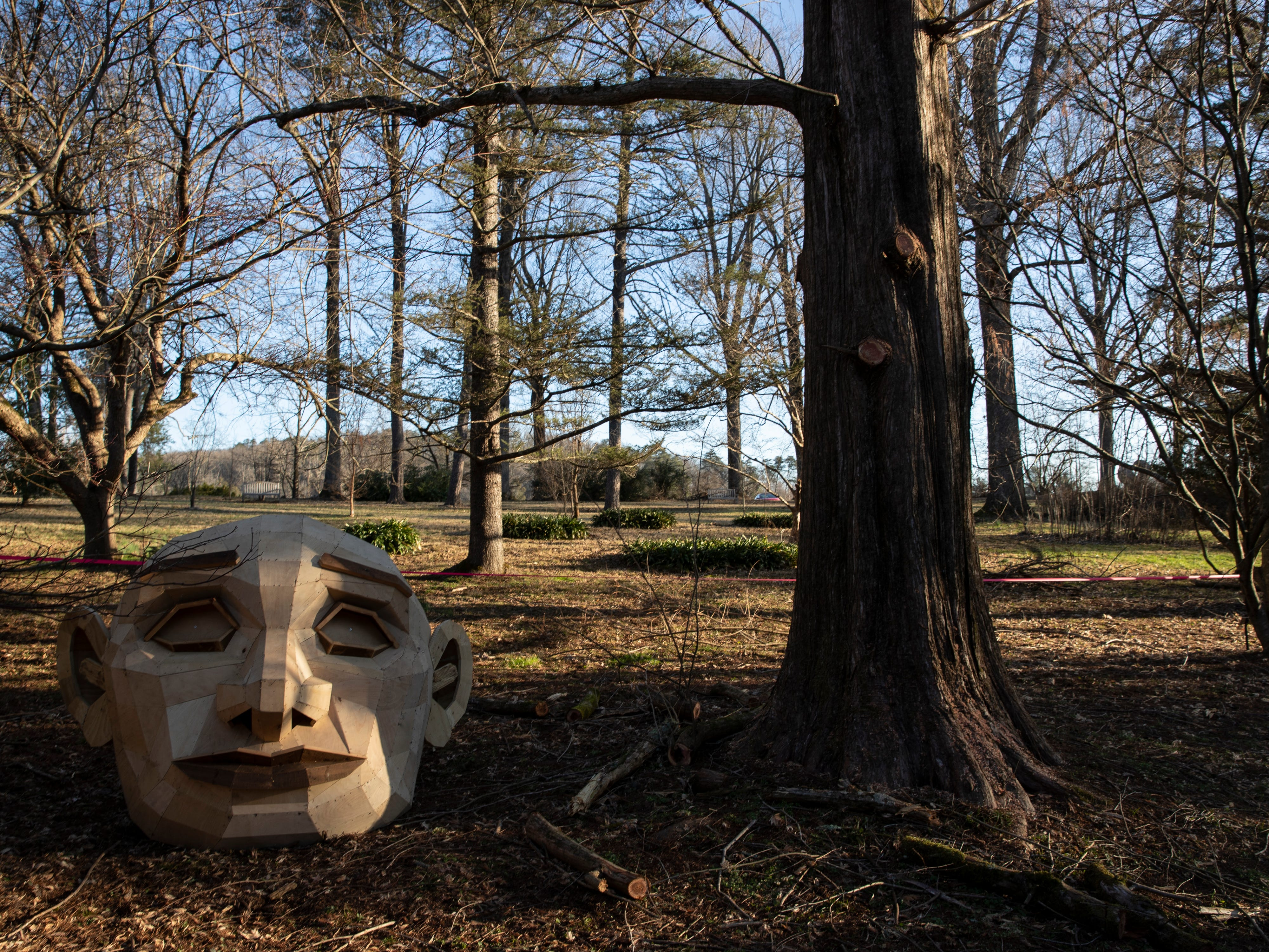 """The head of giant troll """"Momma Loumari"""" sits next to the tree where she will reside in Bernheim Forest. Feb. 27, 2018."""