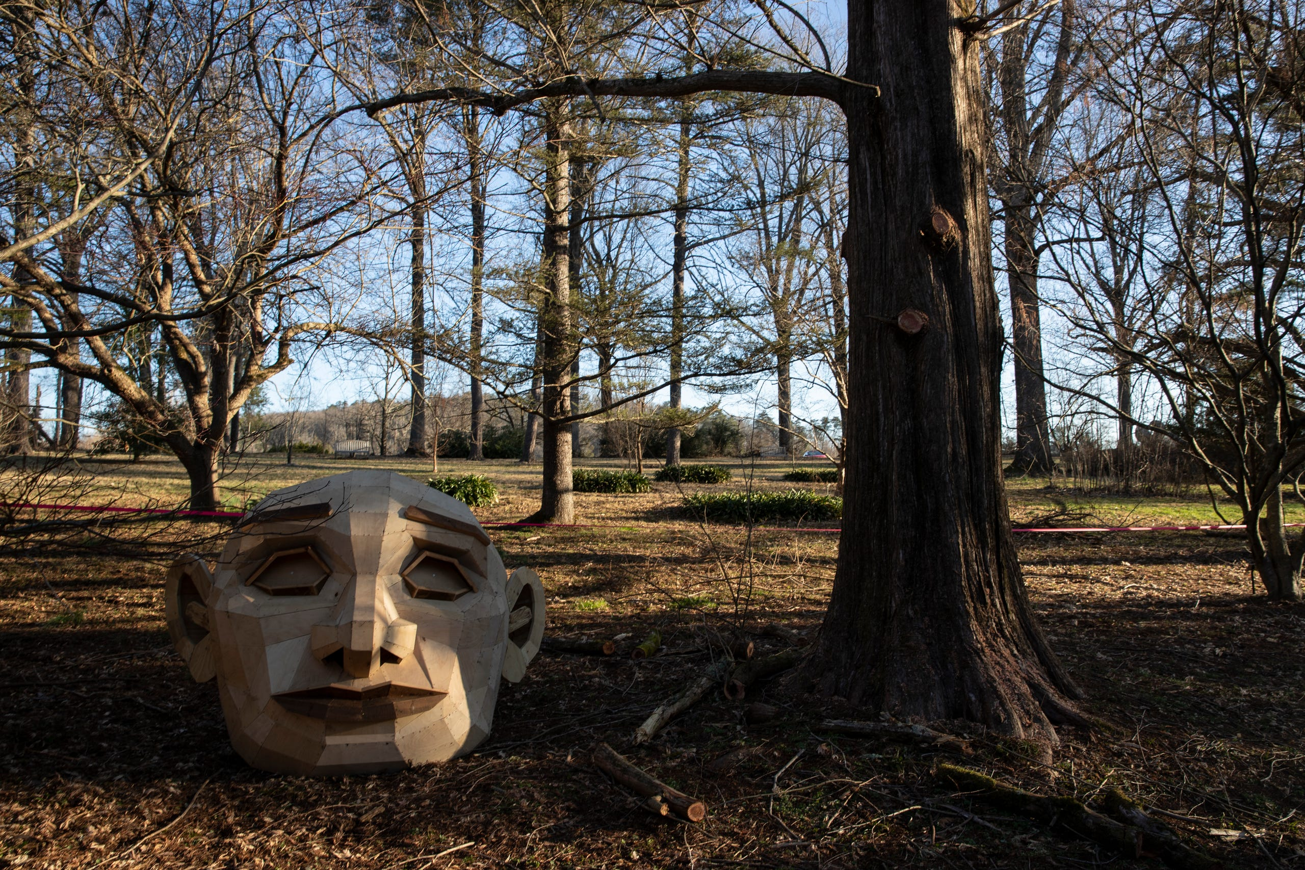 "The head of giant troll ""Momma Loumari"" sits next to the tree where she will reside in Bernheim Forest. Feb. 27, 2018."