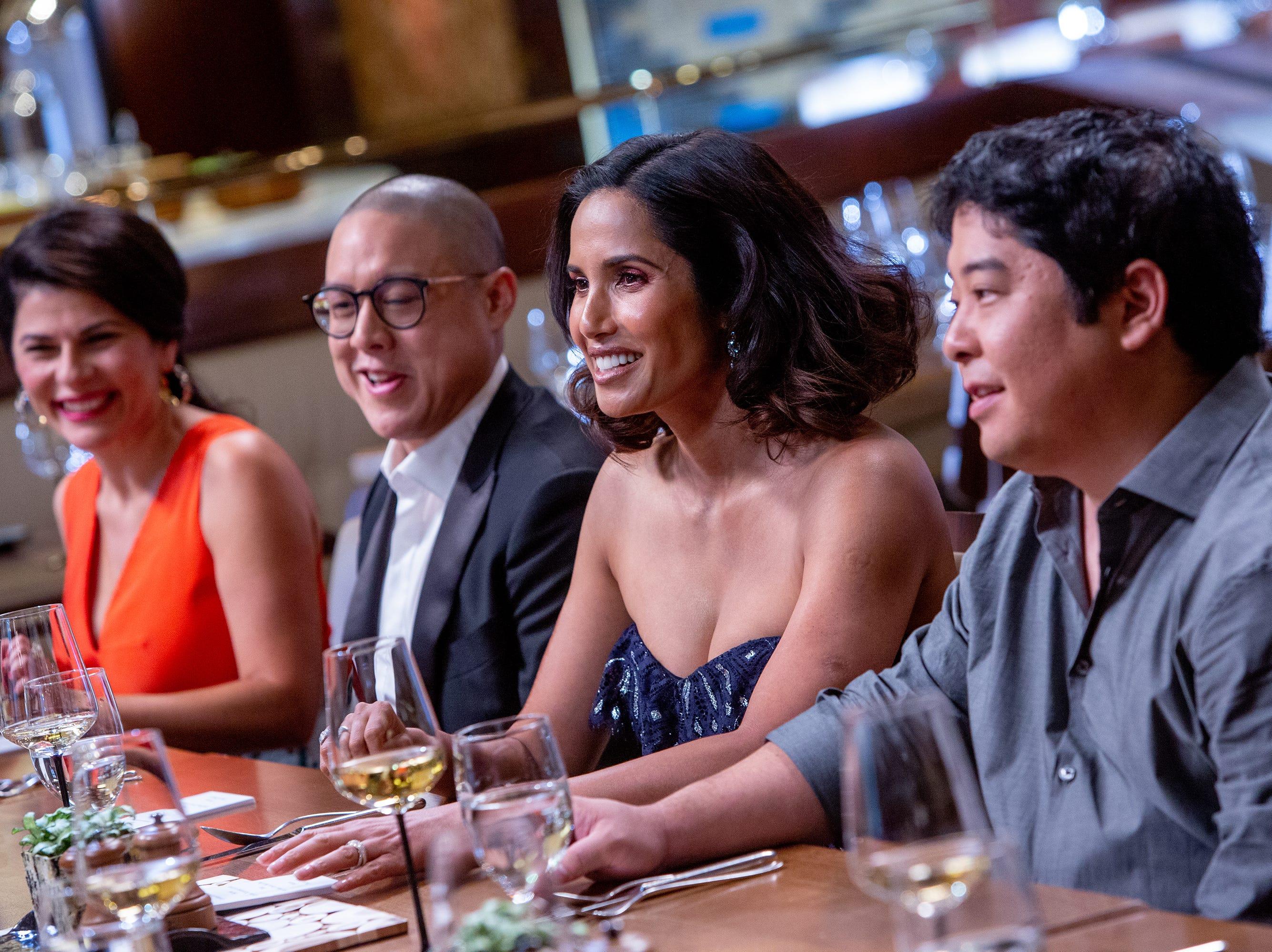 (Left to right) Nilou Motamed, Dan Hong, Padma Lakshmi and Mitsuharu Tsumura dine in episode 15 of 'Top Chef' Kentucky.