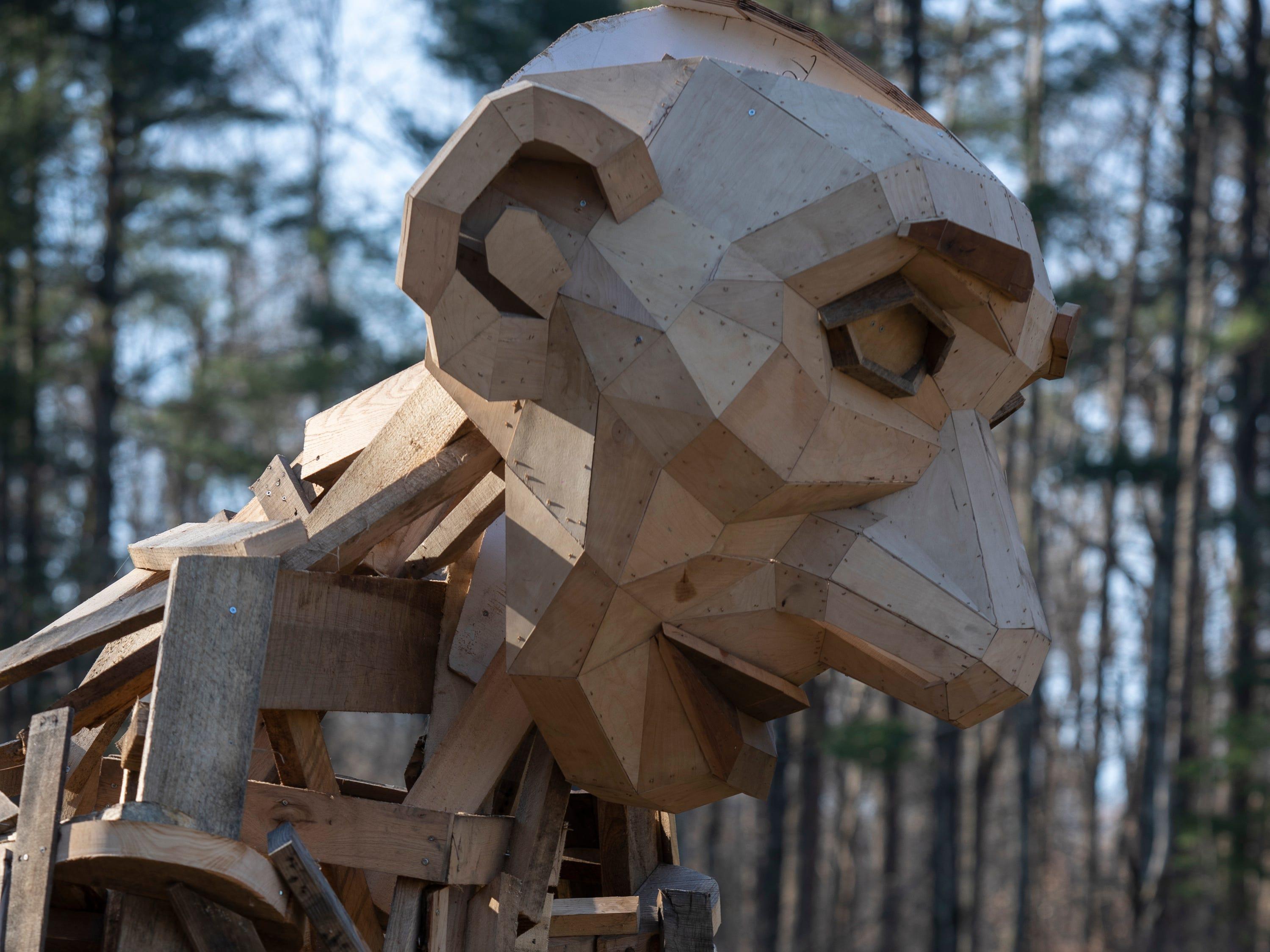 "Giant troll ""Little Elina,"" under construction at Bernheim Forest. Feb. 27, 2019."