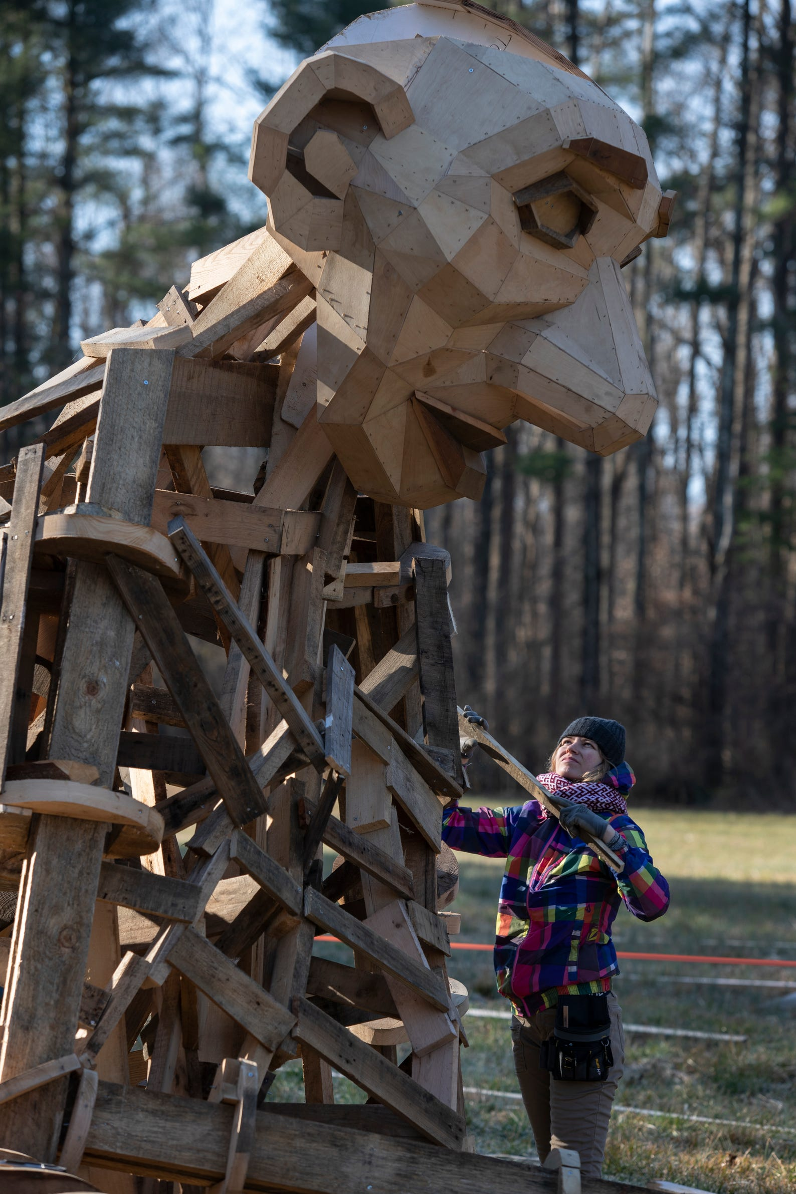 "Giant troll ""Little Elina,"" under construction at Bernheim Forest. Feb. 27, 2019."