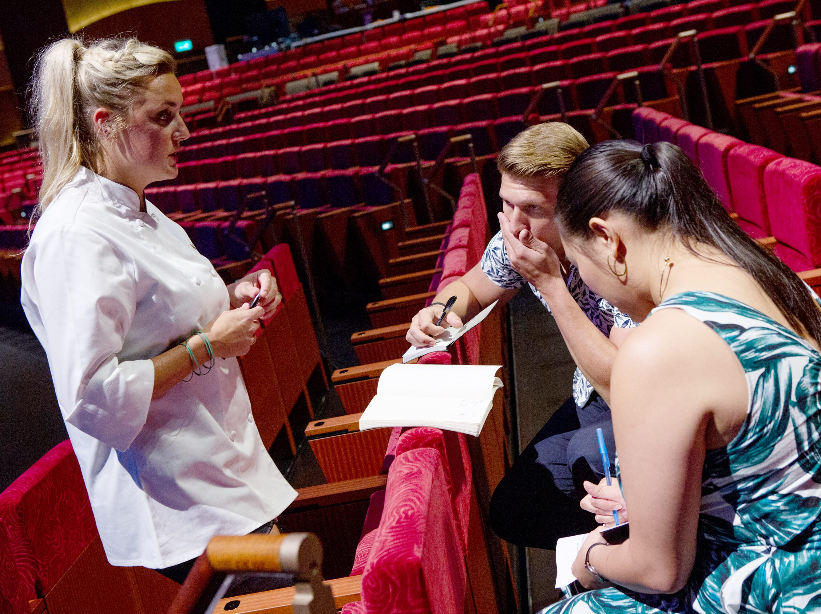 Finalist Kelsey Barnard Clark plans her menu with former contestants Brandon Rosen and Nini Nguyen on episode 15 of 'Top Chef' Kentucky.
