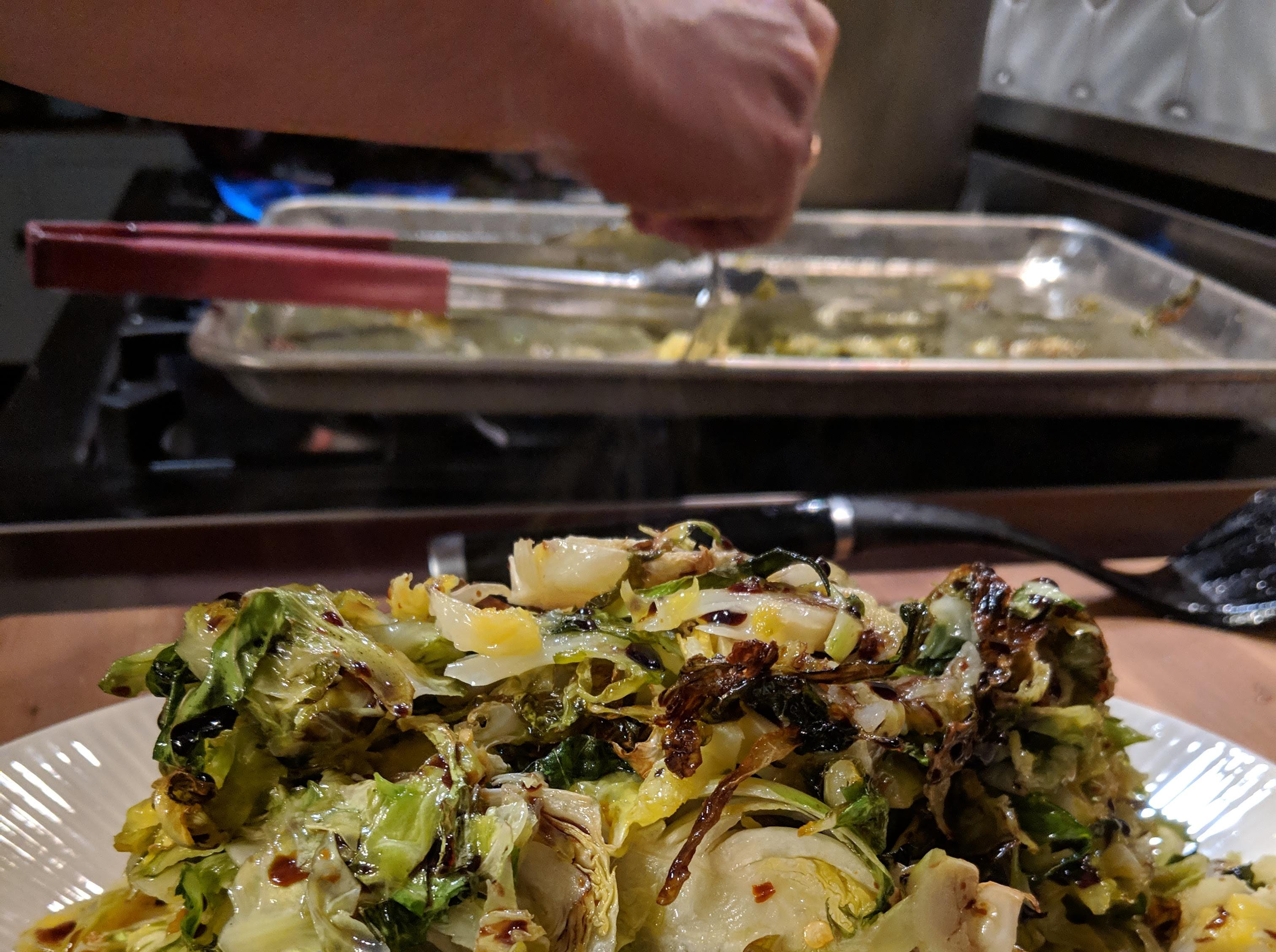 Volare chef Josh Moore recommends serving some roasted Brussels sprouts alongside the fish.