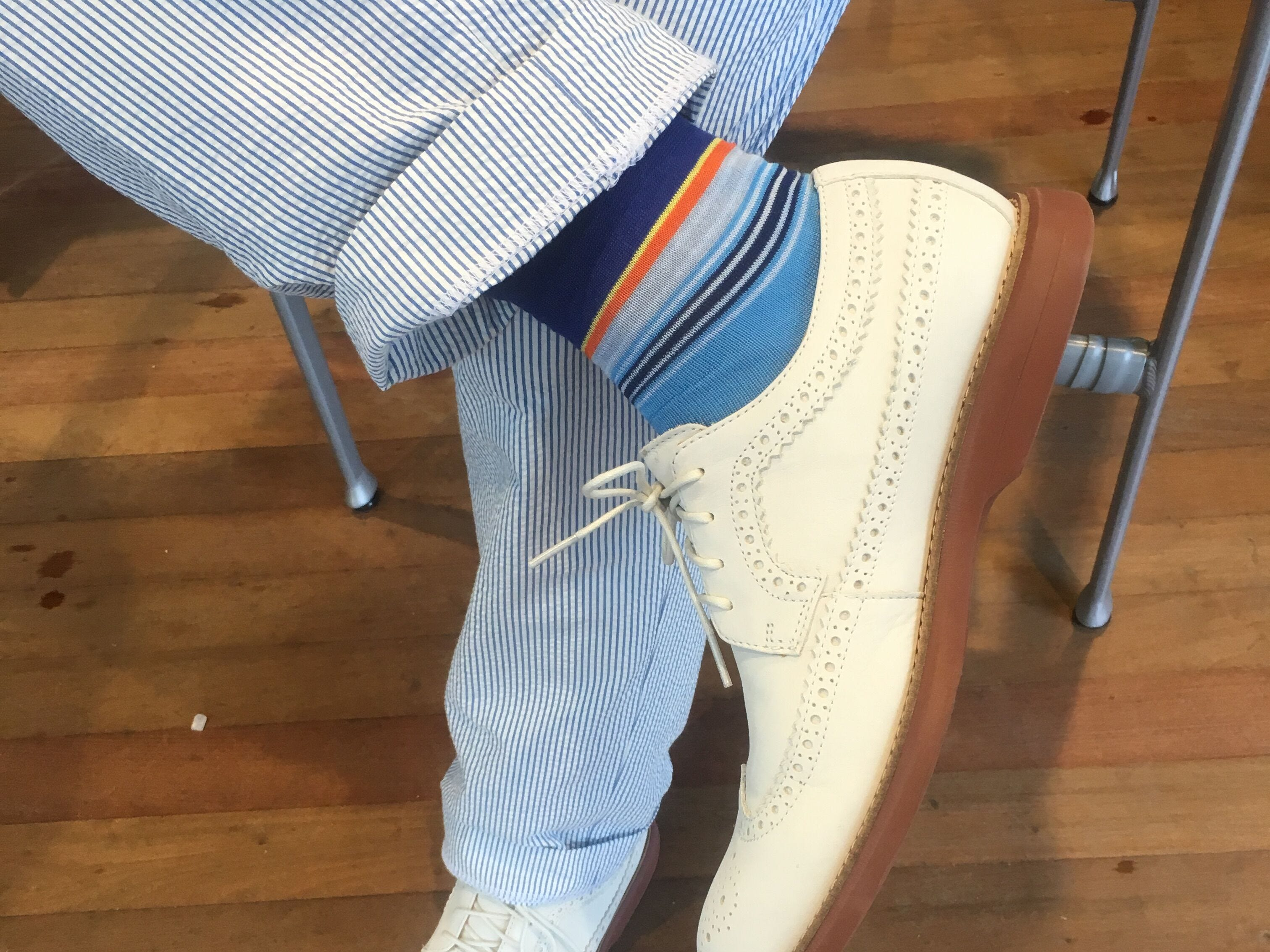 """Chef Tom Colicchio's socks, shoes and slacks as styled by """"Top Chef"""" stylist Charlotte Rose Coleman"""