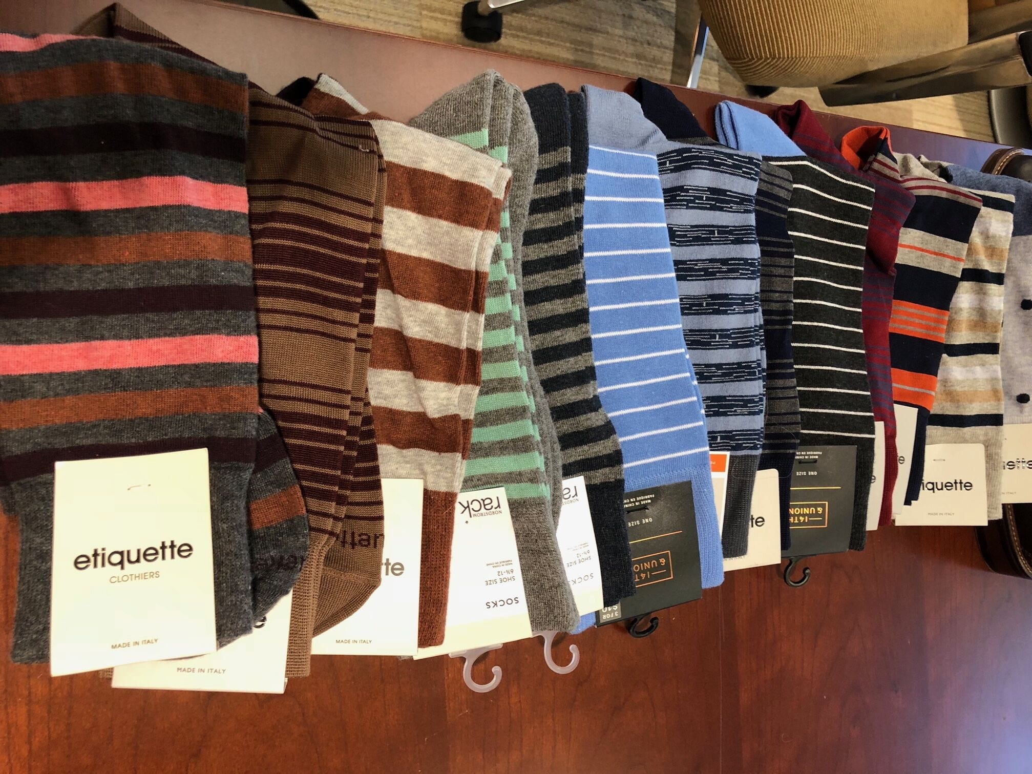 """A sample of the socks """"Top Chef"""" stylist Charlotte Rose Coleman has selected for chef Tom Colicchio's wardrobe"""