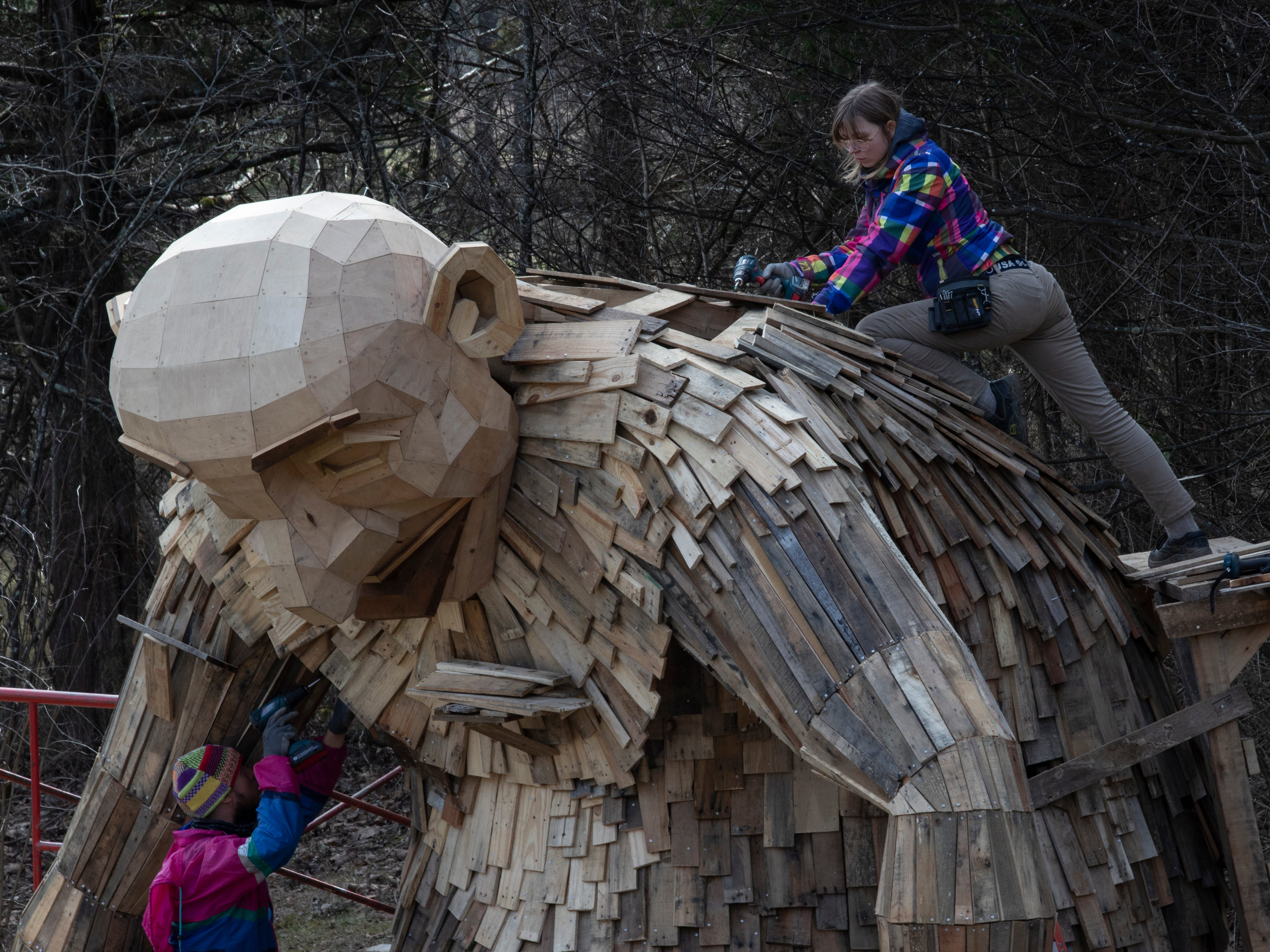 """""""Little Nis,"""" one of three giant trolls is seen being constructed at Bernheim Forest. Feb. 27, 2019"""