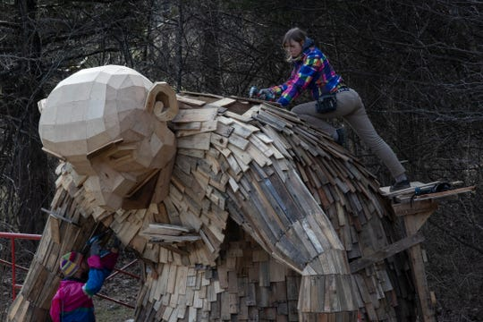 """Little Nis,"" one of three giant trolls is seen being constructed at Bernheim Forest. Feb. 27, 2019"