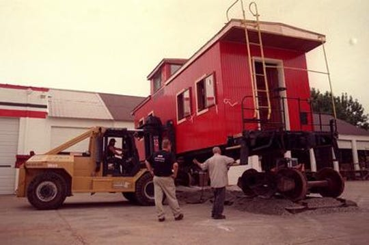 The caboose installation at Cardinal Stadium in 1999.