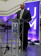Mark Russell, executive editor of The Commercial Appeal, speaks at the ceremony to announce the donation of The CA's archives to the University of Memphis.