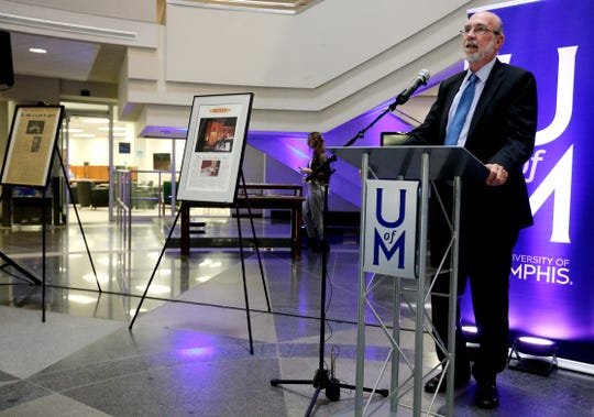 University of Memphis Provost Tom Nenon talks about the donation of the The Commercial Appeal's archives to the university at a ceremony Tuesday.
