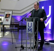 University of Memphis President M. David Rudd announces the donation of The Commercial Appeal's archives to the university on Tuesday.
