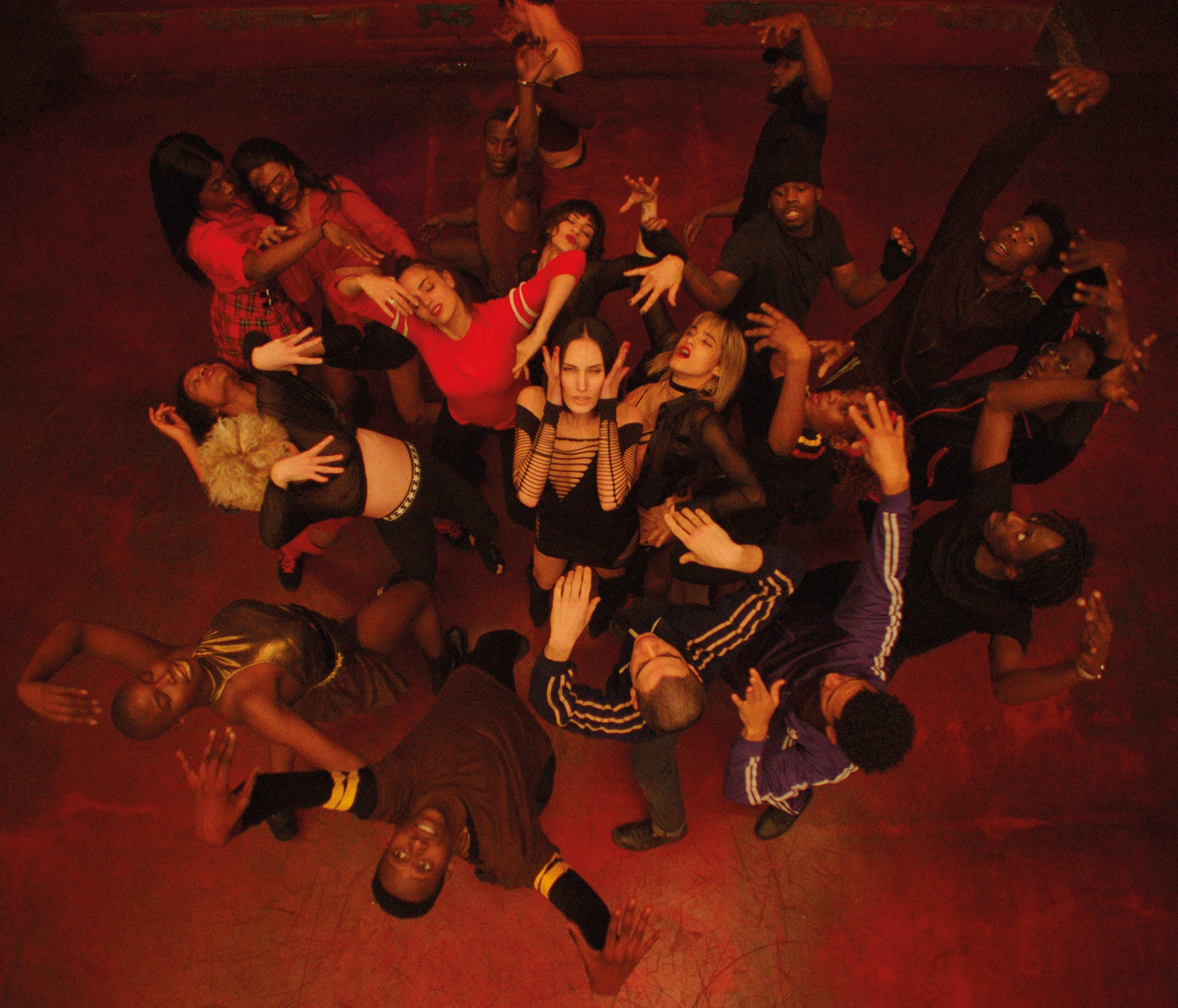 """Sofia Boutella, Romain Guillermic, Souheila Yacoub, Kiddy Smile and their dance mates take to the floor before the mayhem in """"Climax."""""""
