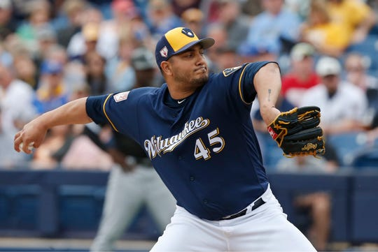 Brewers pitcher Jhoulys Chacin starts the game for the Brewers on Monday.