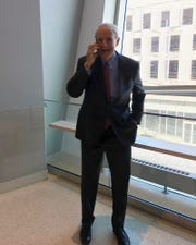 Milwaukee Mayor Tom Barrett receives the call from the Democratic National Committee with the news that Milwaukee has been chosen to host the 2020 Democratic National Convention.