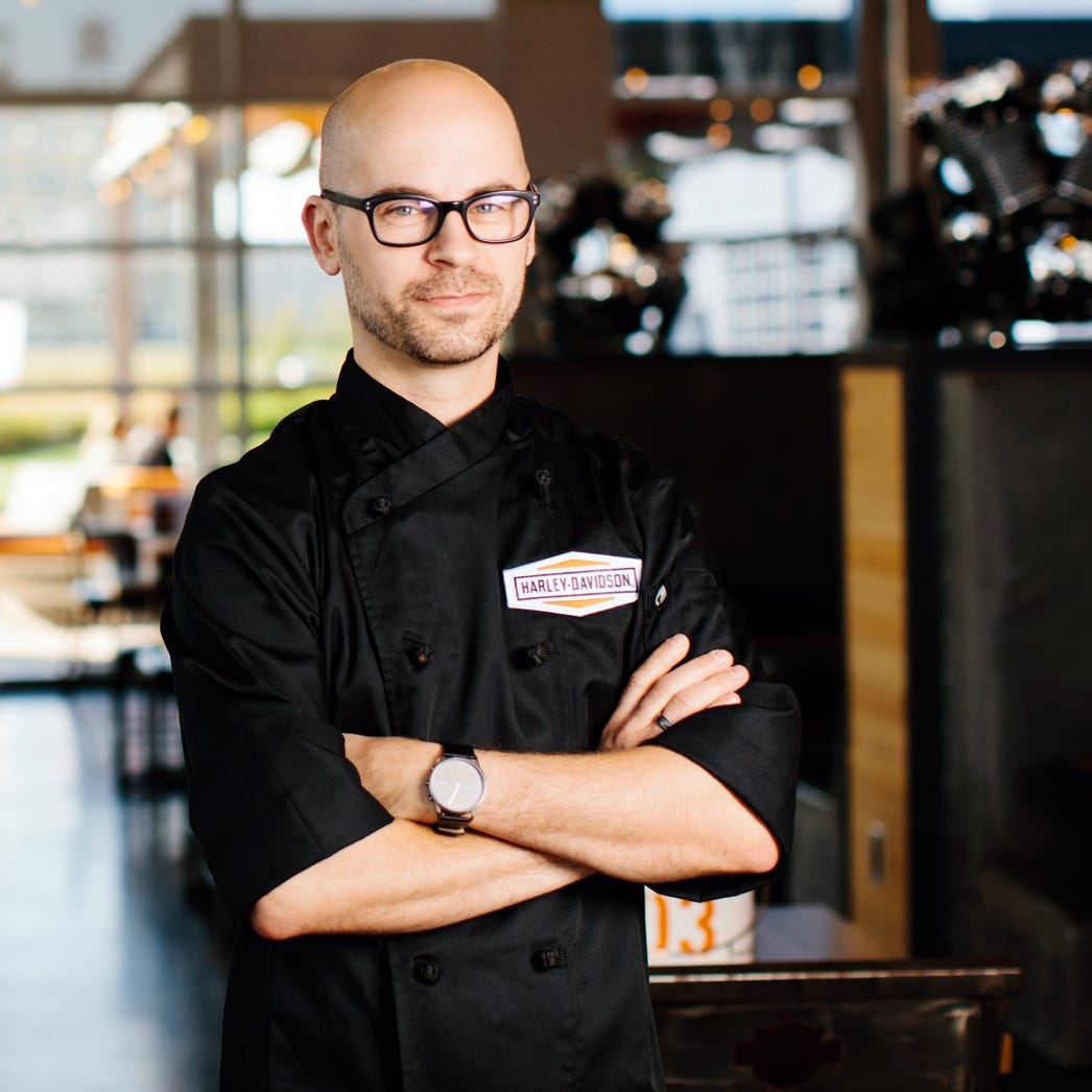 This picky eater was enlisted to help Mom cook. Now he's the chef at Harley-Davidson Museum