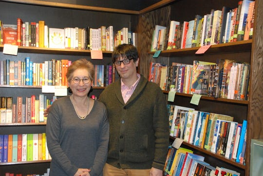 "Novelist Elinor Lipman and Boswell Books owner Daniel Goldin pose before a March 11 event at the Milwaukee bookstore. They talked about her new novel ""Good Riddance."""