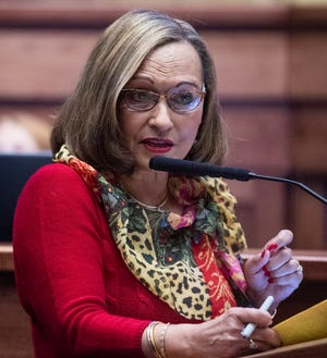 Sen. Vivian Figures speaks during debate on the gas tax bill on the state floor in the Alabama Statehouse in Montgomery, Ala., on Tuesday March 12, 2019.
