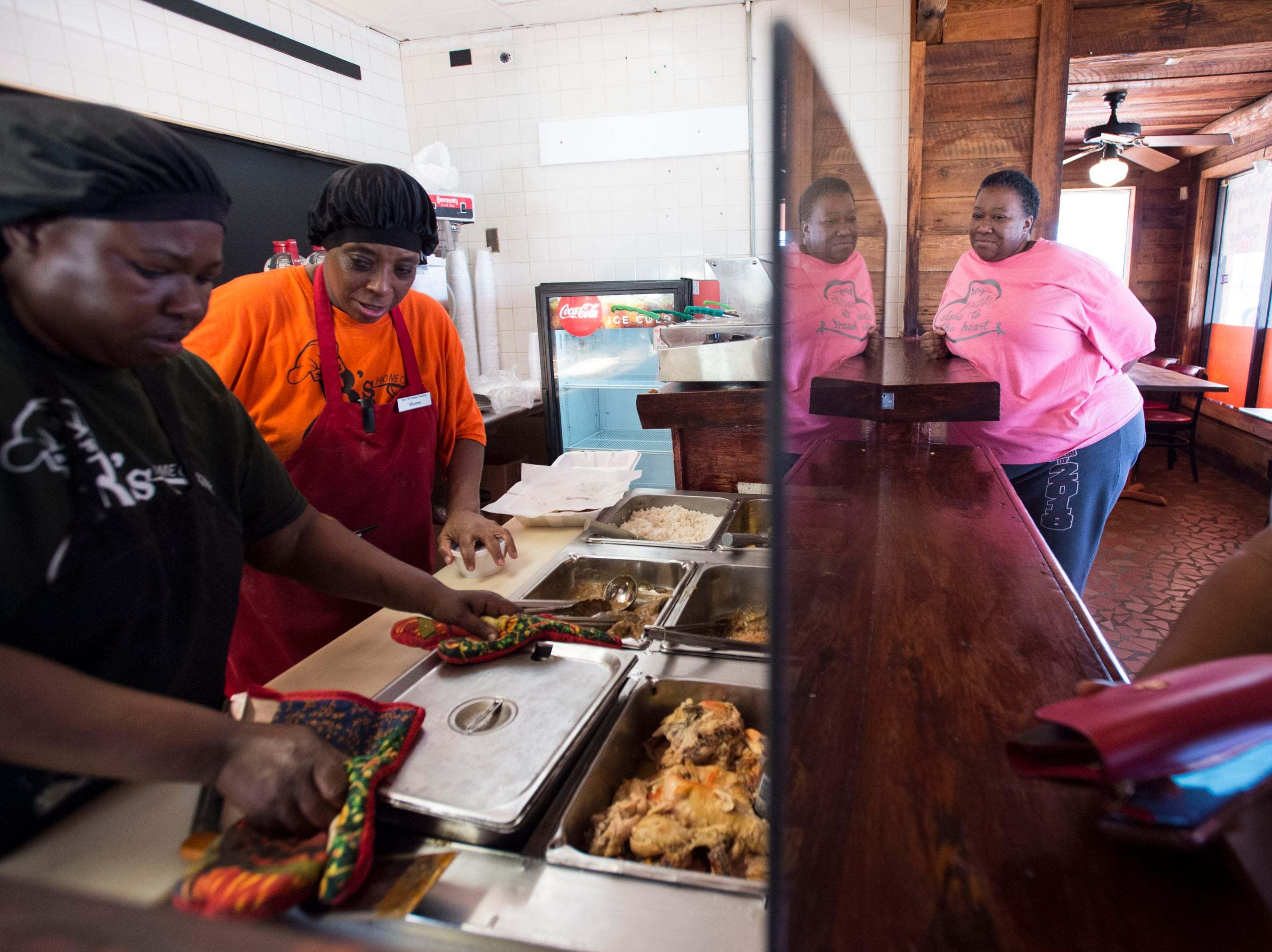 Customers get lunch at Mrs. B's restaurant new location at 415 Air Base Blvd. in Montgomery, Ala., on Tuesday, March 12, 2019. The iconic home cooking restaurant's original location burned down in a Jan. 20th fire.