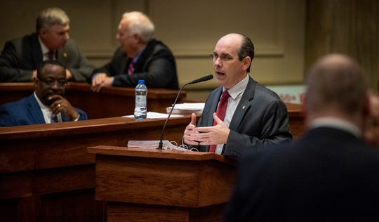 Sen. Clyde Chambliss speaks during debate on the gas tax bill on the state floor in the Alabama Statehouse in Montgomery, Ala., on Tuesday March 12, 2019.