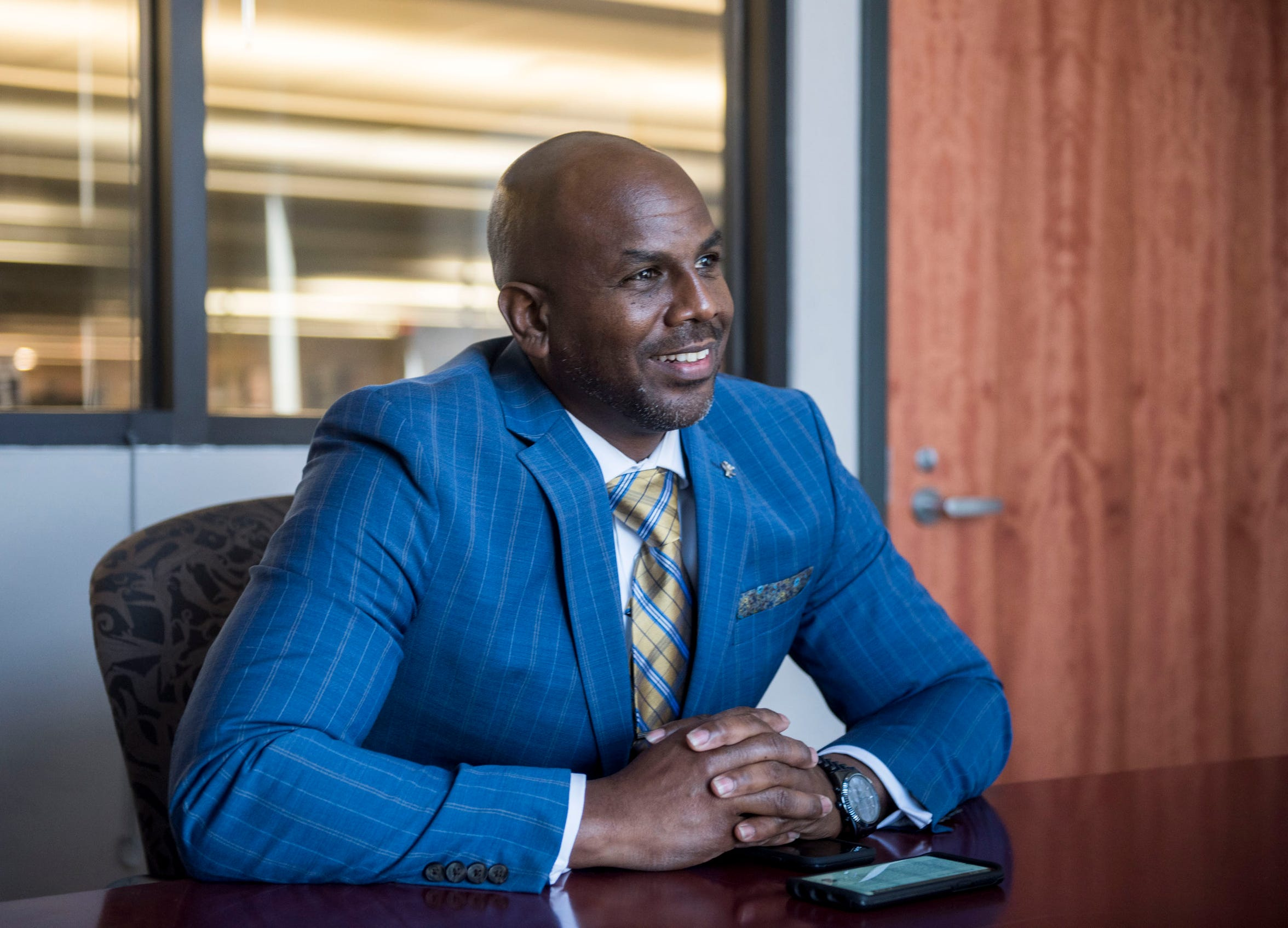 Oronde Mitchell, candidate for city council district 6, is interviewed in Montgomery, Ala., on Tuesday, March 12, 2019.
