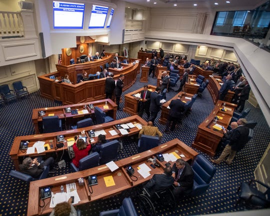 Debate on the gas tax bill is held on the state floor in the Alabama Statehouse in Montgomery, Ala., on Tuesday March 12, 2019.
