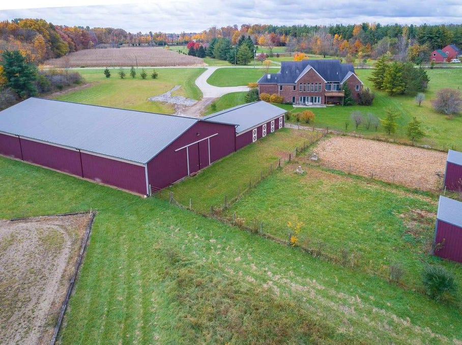 This home located at 10990 W. Bethel Ave. in Gaston touts four bedrooms, 3.5 bathrooms and sits on 16 acres. There is also a 10,752-square-foot horse barn on the property.