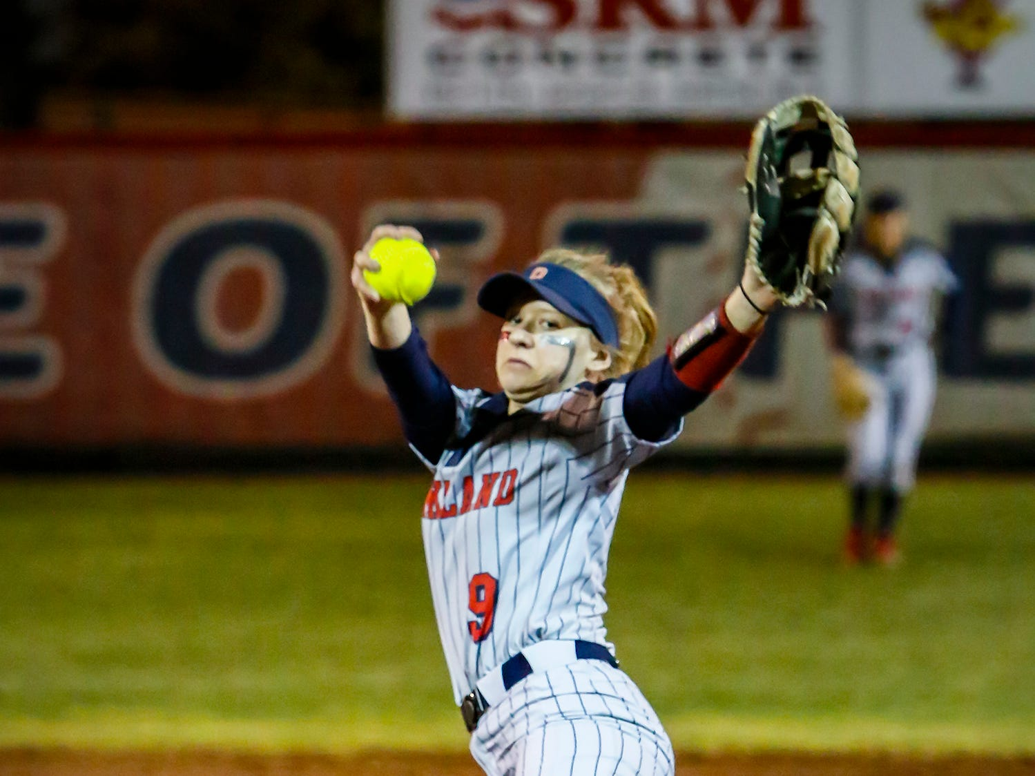 Oakland's Rylee Veron fires a pitch during Monday's game against Stewarts Creek.