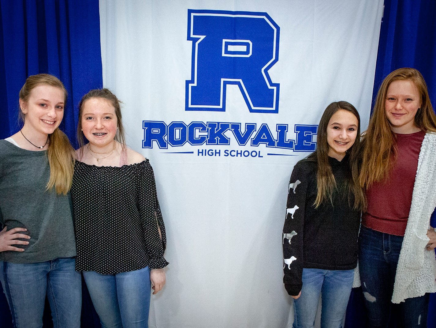 This foursome of incoming Rockvale High School freshmen have been friends since kindergarten and will be reunited when the school opens in fall 2019. From left, Calista Phinney, Caiah Nicholson, Sammie Brannon and Jessie Condren.