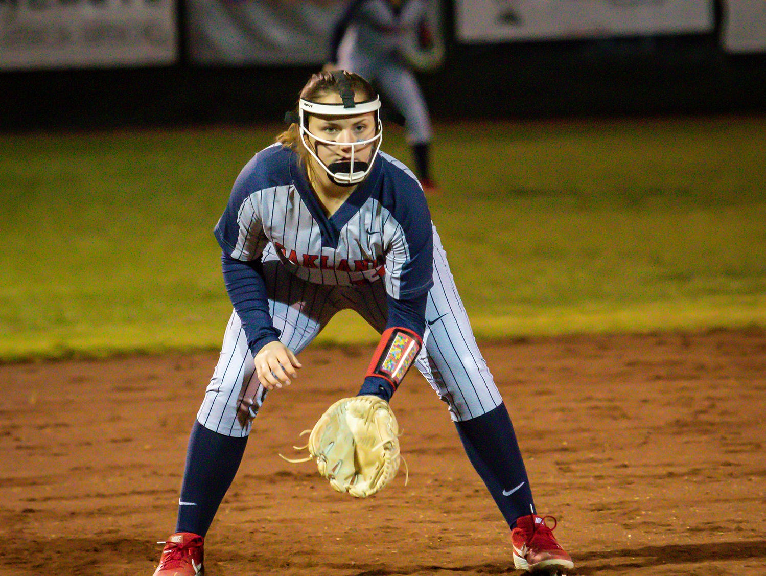 Oakland third baseman Aimee Hall awaits a pitch during Monday's game.