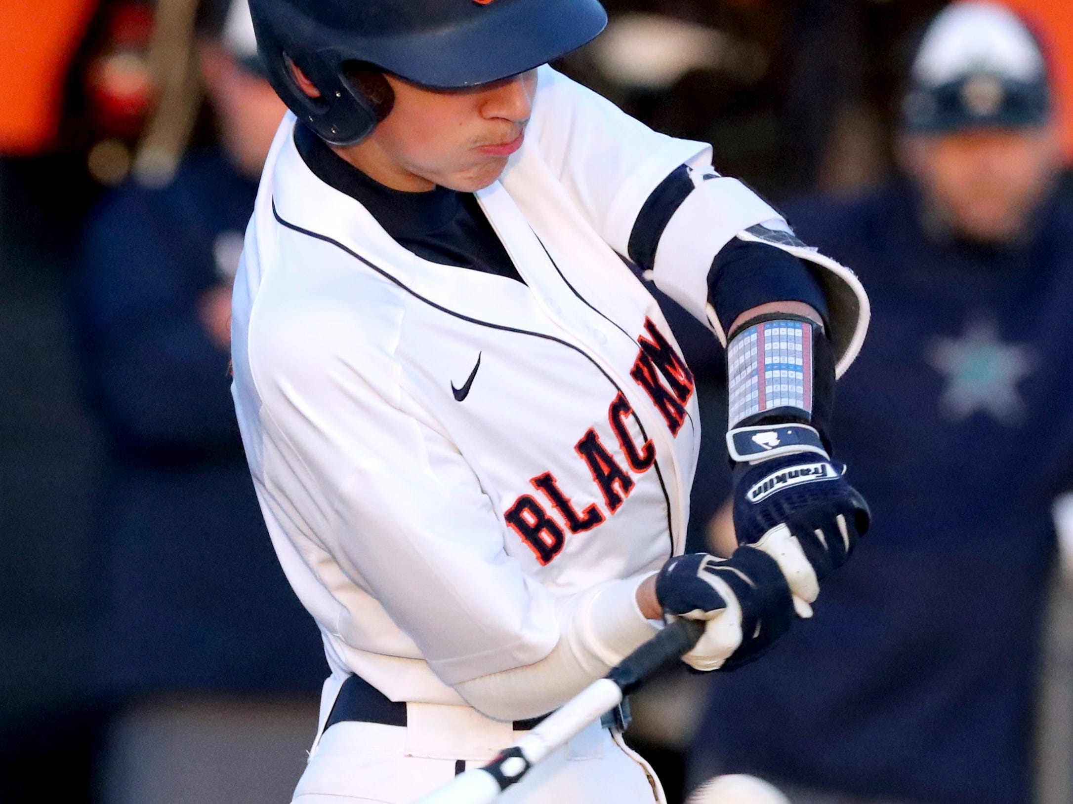 Blackman's Carter Warner (2) swings at the ball during the game against Blackman, on Monday, March 11, 2019.