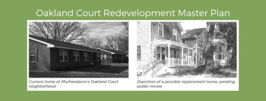 A rendering shows what Oakland Court could look like after a redevelopment by Murfreesboro Housing Authority.