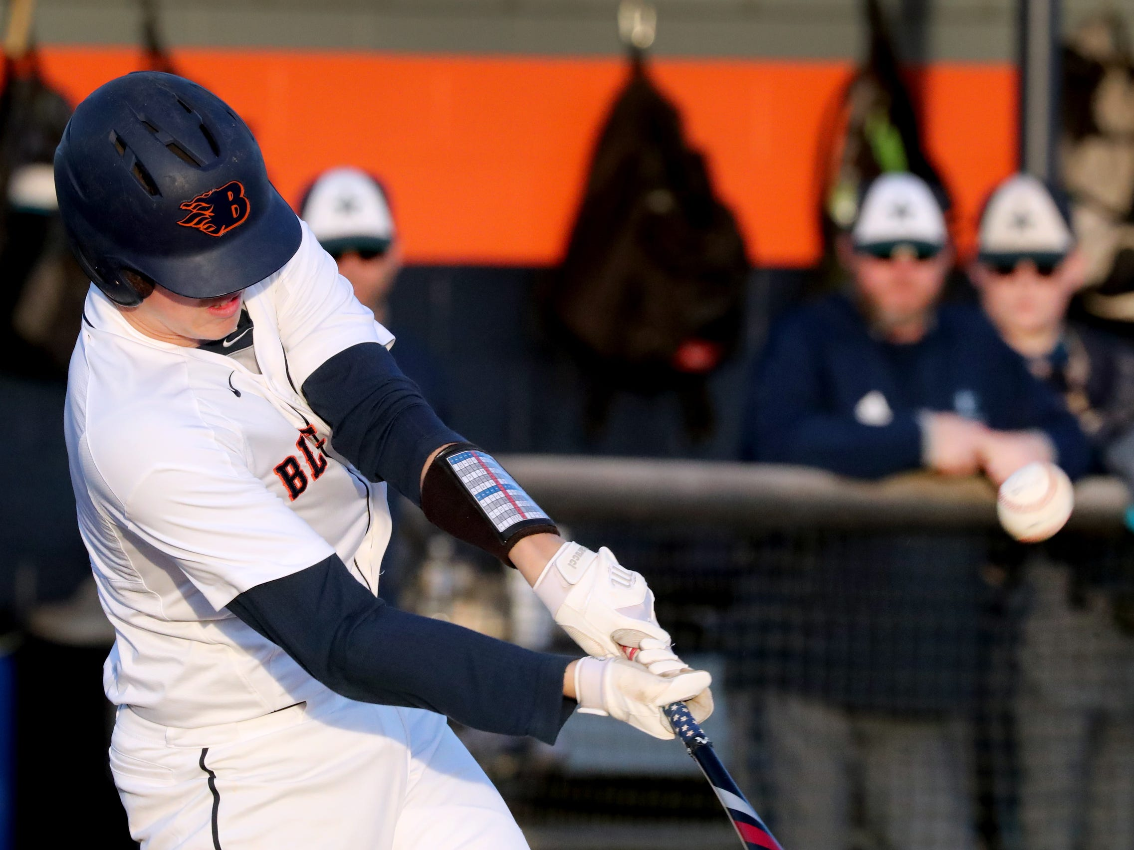 Blackman's Drew Beam (11) makes contact with the ball during the game against Siegel on Monday, March 11, 2019.