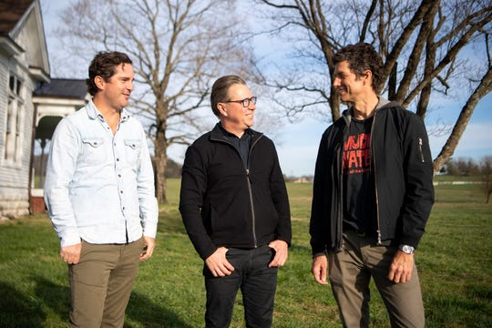Pilgrimage Music & Cultural Festival co-founders Michael Whelan, Brandt Wood and Kevin Griffin, from left, pose for a photo March 11, 2019, at The Park at Harlinsdale Farm in Franklin. The festival will return to the site for its fifth year in September.