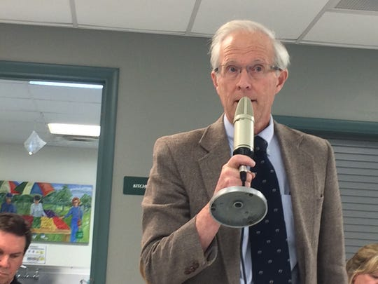 Vanderbilt University Medical Center Dr. James Powers speaks at a nonpartisan public forum on medical marijuana, hosted by the Cheatham County Democrats at the Ashland City Senior Center on Thursday, March 7.