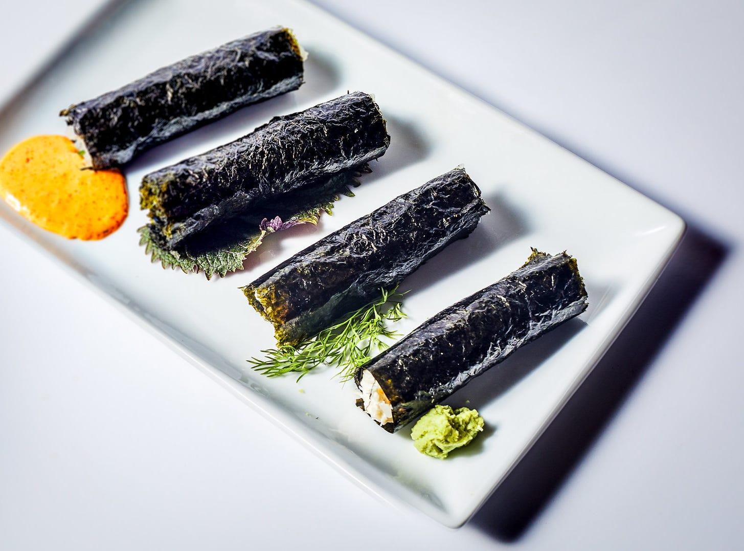 Cigar handrolls (tuna, hamachi, salmon, blue crab) at Bar Otaku.