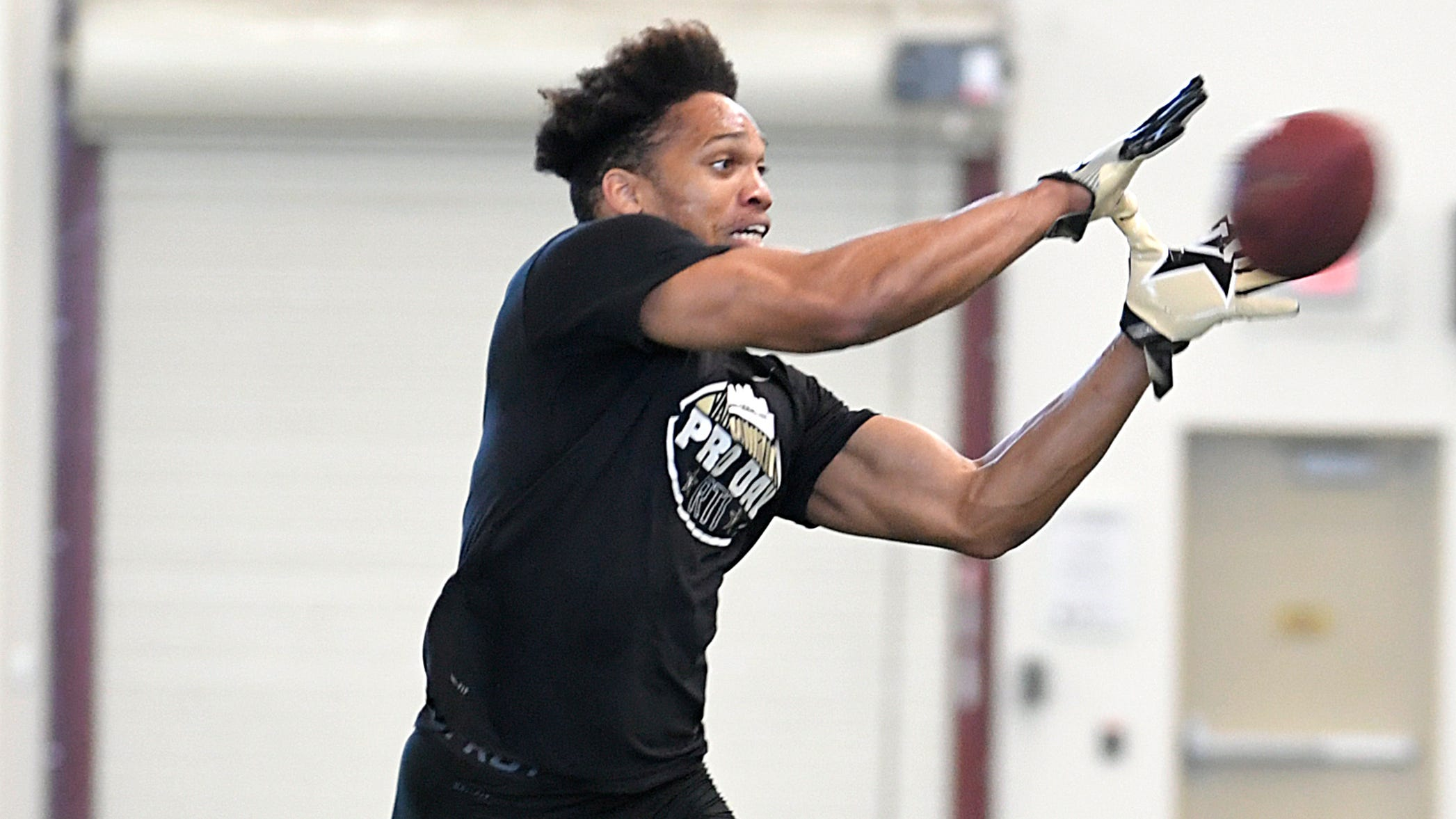 Vanderbilt safety LaDarius Wiley performs drills during NFL Pro Day in Nashville on Tuesday, March 12, 2019.