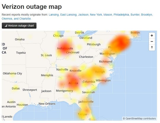 A map shows the impact of a Verizon text-message outage on March 12, 2019.