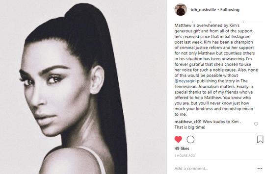 Tim Hardiman's Instagram post on Kim Kardashian West aiding Matthew Charles with rent.