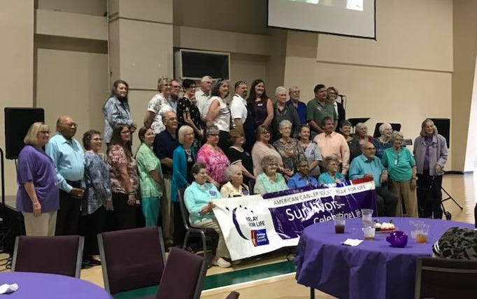 The Relay for Life Survivor Dinner in prior years. That group included several Peggy's  Support Group members.