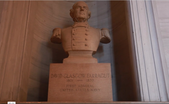 A bust of Adm. David Farragut is in the Tennessee state Capitol.