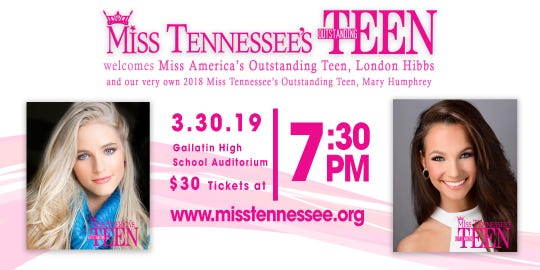 London Hibbs will visit Gallatin for the Miss Tennessee's Outstanding Teen Competition.