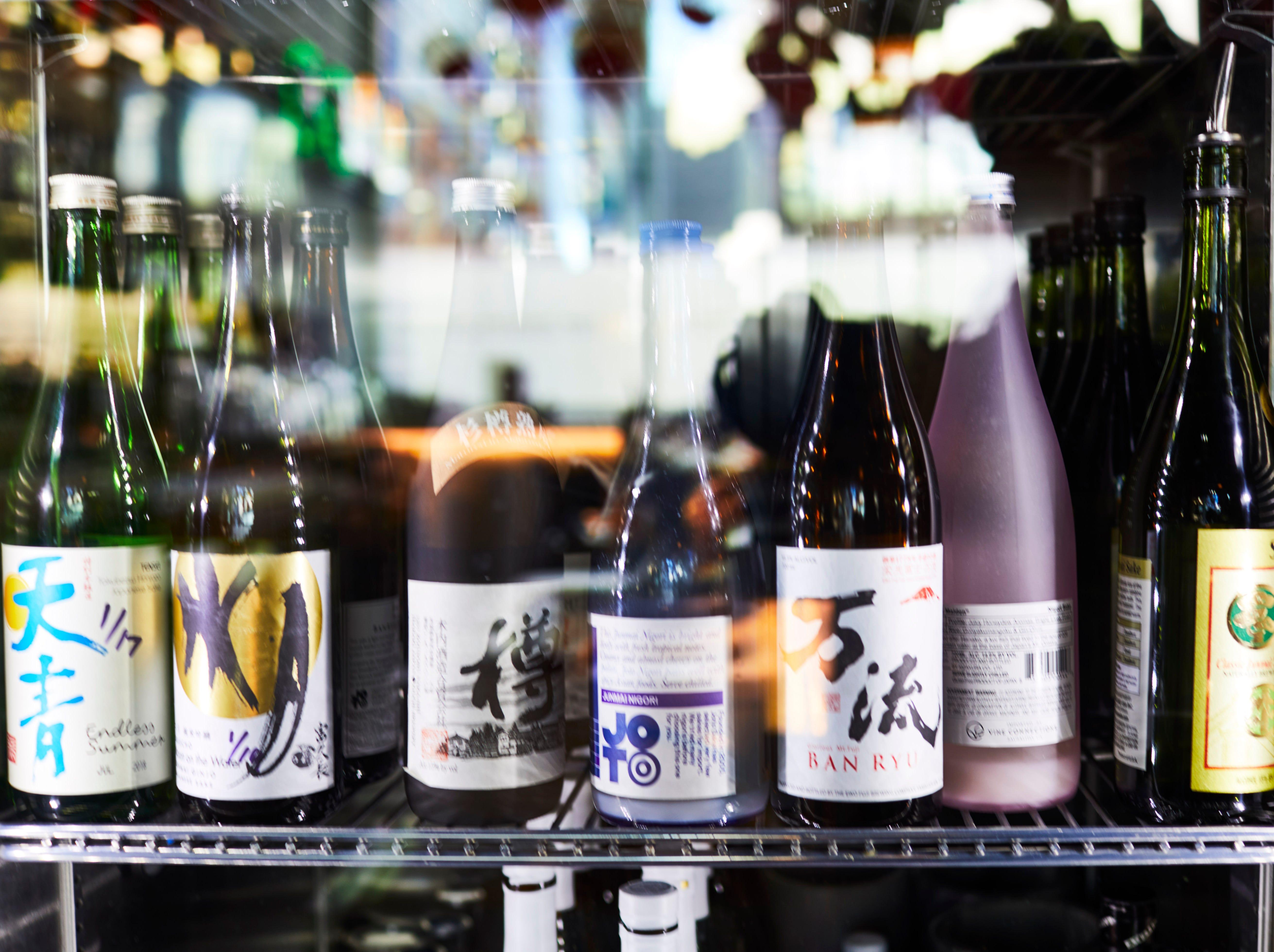 A selection of sakes at Bar Otaku.